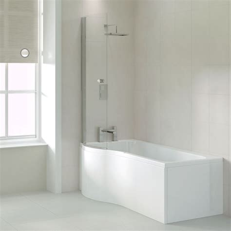 Ethan 1700 P Shaped Shower Bath (left Handed)  Bathroom City