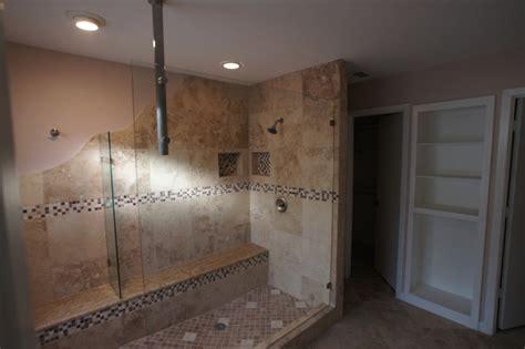 unique walk  shower  plano traditional bathroom dallas  frameless glass systems