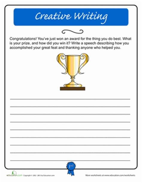 creative writing acceptance speech worksheet