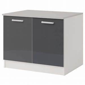 Meuble Bas 2 Portes : meuble bas 2 portes 120 cm shiny gris ~ Dallasstarsshop.com Idées de Décoration