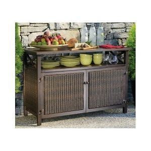 Outdoor Sideboard Cabinet by Outdoor Buffet Wicker Counter Sideboard Console Brown