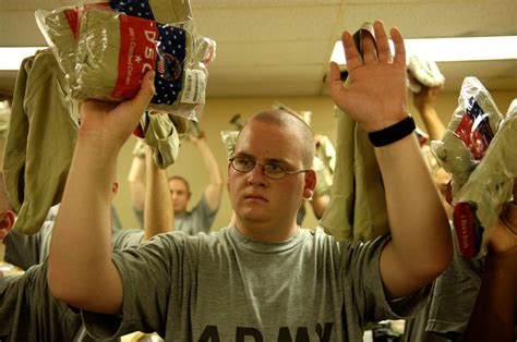 army privates hold  newly issued underwear