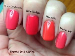 Opi Gel Nail Polish Color Chart Coral Nail Polish Comparison Swatches Opi Live Love