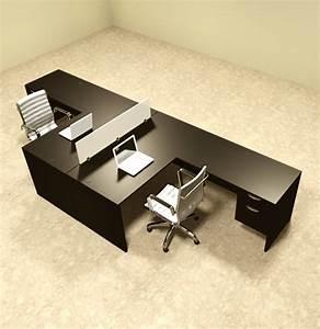 Two, Person, L, Shaped, Divider, Office, Workstation, Desk, Set, Ot-sul-fp40
