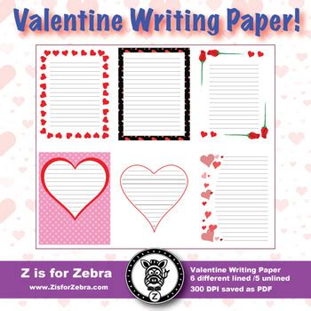 valentines day themed writing paper lined unlined