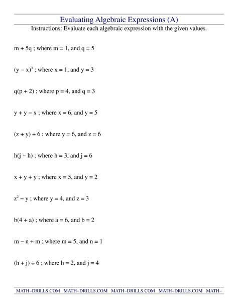 Math Worksheets Algebraic Expressions  Simplifying Algebraic Expression Worksheetsfree