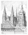 Prague - castle and cathedral St. Vitus Drawing by Vlado Ondo