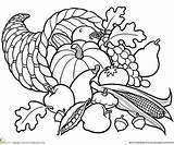 Cornucopia Coloring Pages Printable Fall Basket Parents sketch template