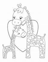 Giraffe Coloring Giraffes Printable Cartoon Animal Colouring Printables Mommy Hugging Template Sheets Animals Kid Cat Sheknows Drawing Templates Embroidery Adult sketch template