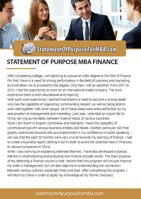 sample statement  purpose  mba finance  learn