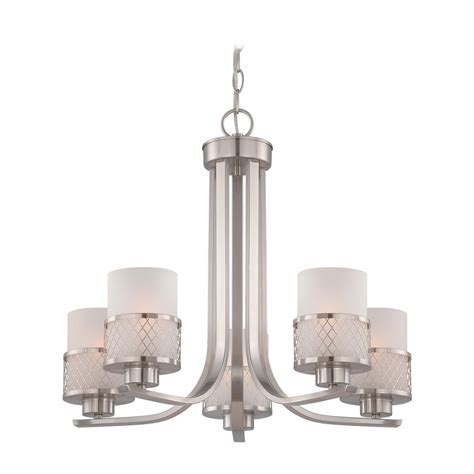 White Modern Chandelier by Modern Chandelier With White Shades In Brushed Nickel