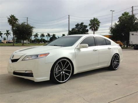 white acura tl with satin black machined and chrome lip