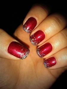 Christmas Nails! Red shellac with gradient silver sparkles ...