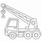Construction Coloring Crane Outline Vehicles Truck Cartoon sketch template