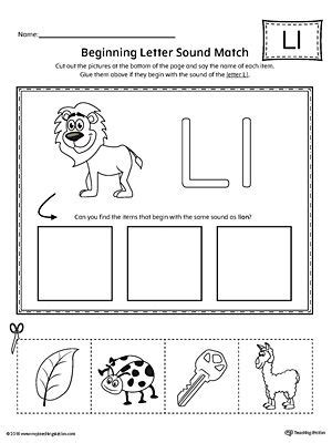 letter l beginning sound picture match worksheet 368 | 982763fc4d498769ebf49171a08a78e2