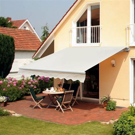 outsunny  ft    ft  fabric retractable standard patio awning reviews wayfair steel