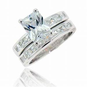 Emerald cut cubic zirconia sterling silver engagement for Cubic zirconia wedding ring sets