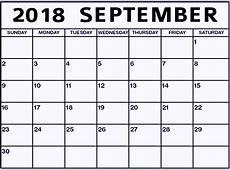 Online Free Printable September 2018 Calendar Paper