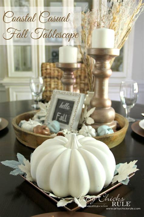 coastal casual fall tablescape   budget artsy