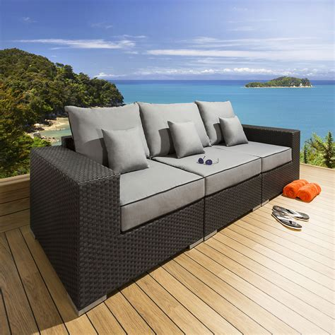 luxury settees quatropi luxury outdoor 3 seater sofa settee black