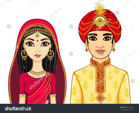 Portrait Animation Indian Family Stock Vector 353225645