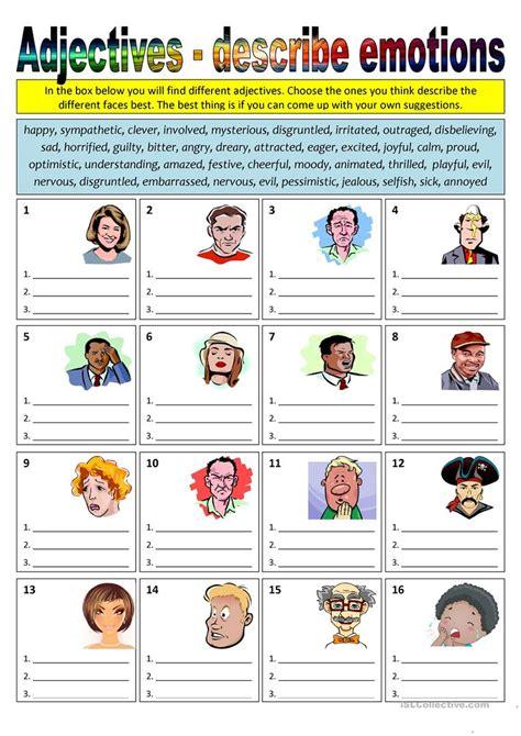 adjectives describe emotions worksheet free esl
