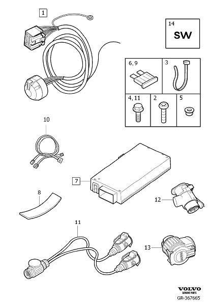 Volvo Wiring Harness Towbar Pin