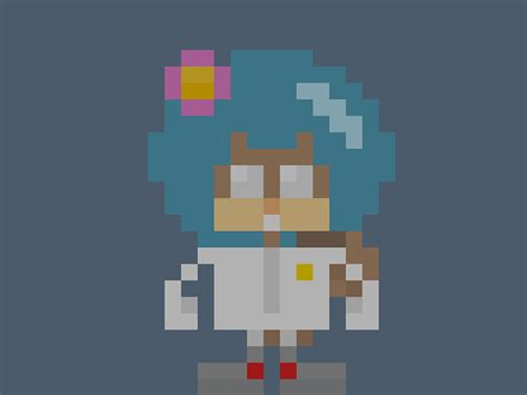 Famous Characters In Pixel Art • Sandra Sandy Cheeks From