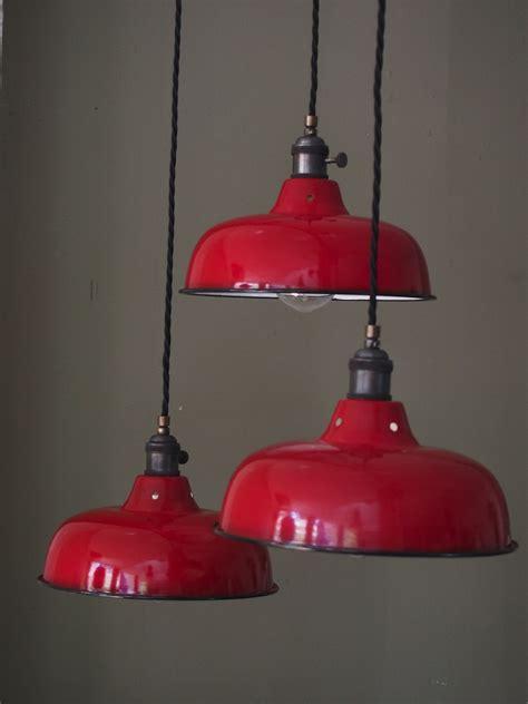 abat jour emaille lampe industrielle rouge