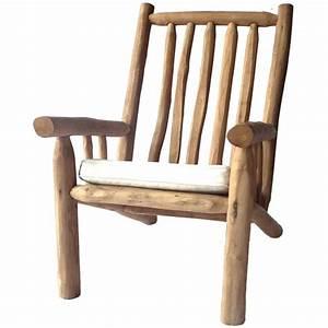 Fauteuil Jardin Bois : fauteuil relax de jardin branches de teck 66cm ~ Teatrodelosmanantiales.com Idées de Décoration