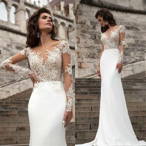 Spring 2016 Wedding Dresses Sheer Neck Long Sleeve Lace