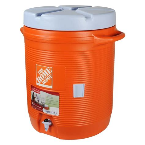 storage container with lid rubbermaid 40 qt orange water cooler fg1610hdoran the