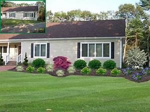 Colonial home front yard landscape design lakeville ma for Landscape design ideas front of house