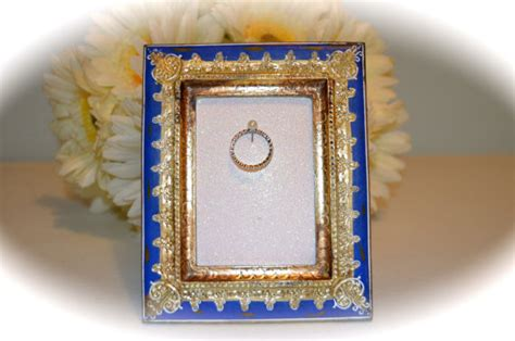 blue and gold engagement wedding ring picture frame ring