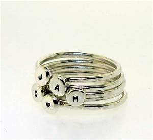 stackable letter ring custom made in your size and With stackable letter rings