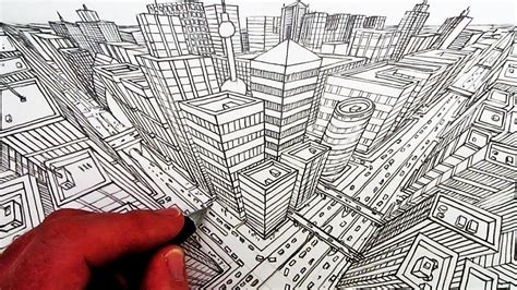 draw  city   point perspective perspektif