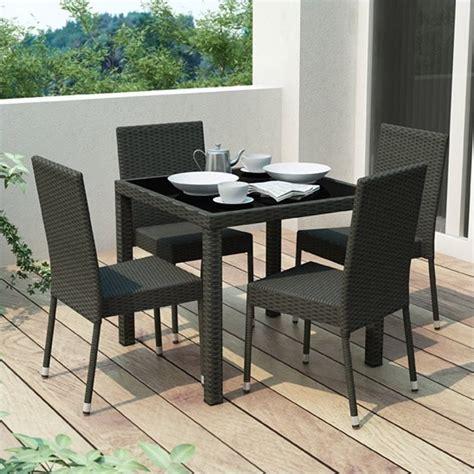 5 wicker patio dining set in black z 306 tpp