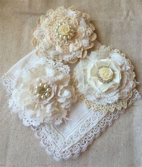 wedding hair flower wedding decor shabby chic fabric flower ivory lace bridal flower