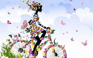 Spring Butterfly Girl Art Ilustrated Wallpaper for ...
