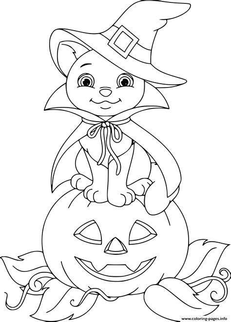 cat  pumpkin halloween coloring pages printable
