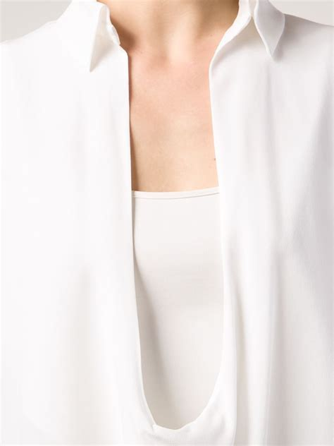 plunging neckline blouse lyst anthony vaccarello plunging neckline blouse in white