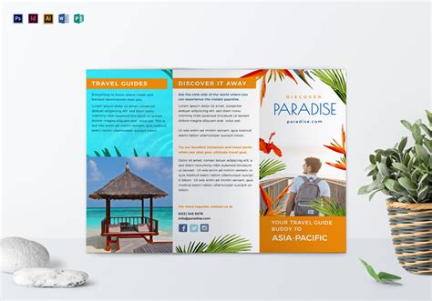 travel tri fold brochure design template  psd word