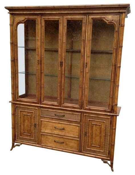 modern buffets and china cabinets pre owned faux bamboo buffet with lit china cabinet
