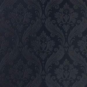 56 sq. ft. Vintage Flock Black Wallpaper