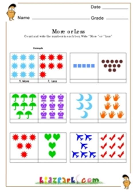 math worksheet  gradekindergarten activity sheet