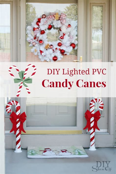 lighted pvc candy canes diy christmas home decor diy