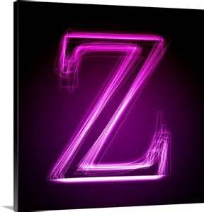 Z Purple Neon Shift Letter Art Canvas Print
