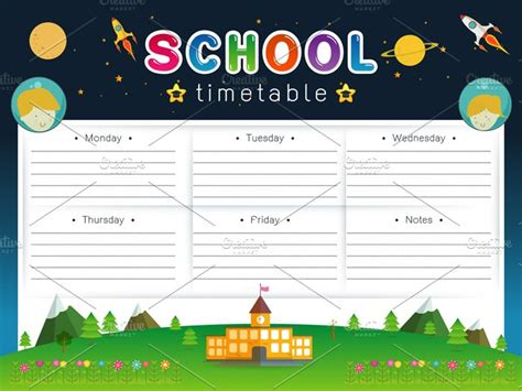 school timetable scheduleweekly card templates