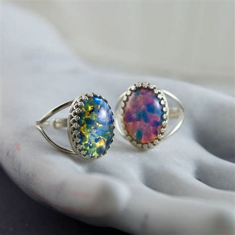 Opel Ring by Sterling Silver Opal Ring By Masquerade