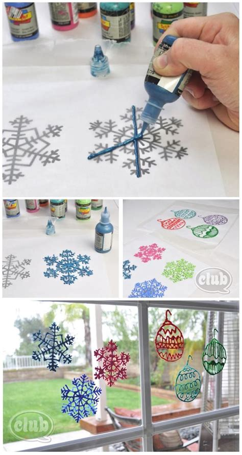 diy christmas window decorations puffy paint window decorations holiday ideas pinterest window clings window and paint